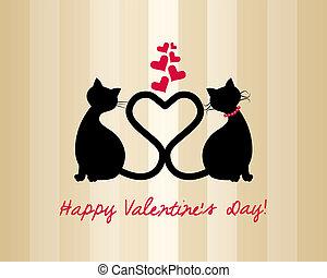 koty, miłość, karta, valentine