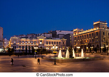 Kotzia Square and Athens Cityhall in the evening, Greece.