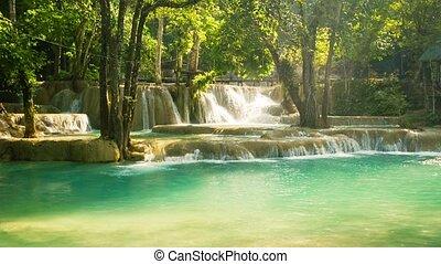 Kouang Si Waterfall, Laos, Luang Prabang. Water flows through the calcareous terraces