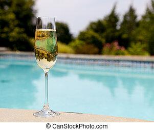 koude, fluit, de pool van champagne, bovenkant