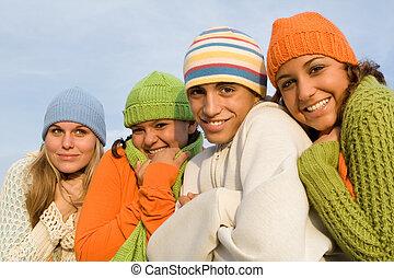 koude, groep, tieners