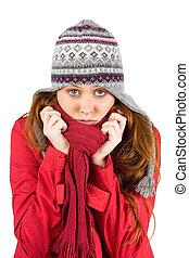 koude, roodharige, vervelend, jas, en, hoedje