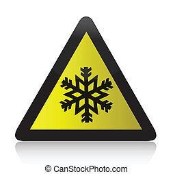 koude, waarschuwend, driehoekig, meldingsbord