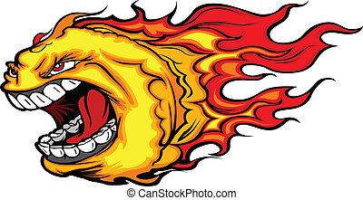 koule, oheň, vektor, kometa, ječící, nebo