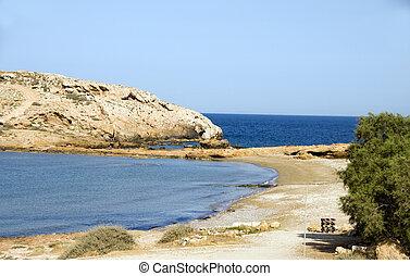 koumbara, ios, strand, cyclades, griekenland