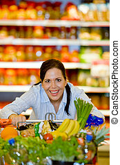koupě, o, ovoce, zelenina, do, ta, supermarket