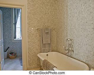 koupelna, dávný podoba, kachlík, bečka, mozaika