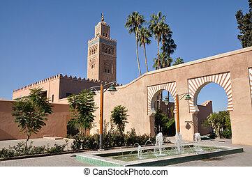 koutoubia 清真寺, 在中, marrakech, 摩洛哥