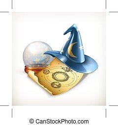 kouzelník, klobouk, vektor, ilustrace