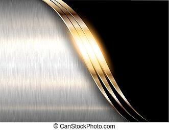 kov, grafické pozadí, zlatý, stříbrný