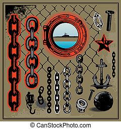 kov, přístav, řetěz