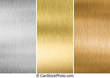 kov, tkanivo, zlatý, stříbrný, a, bronzovat