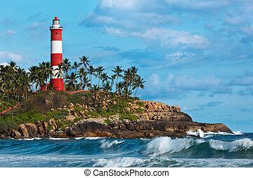 Kovalam (Vizhinjam) lighthouse. Kerala, India - Lighthouse. ...