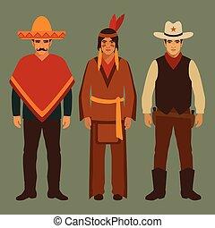 kovboj, indián, a, mexičan