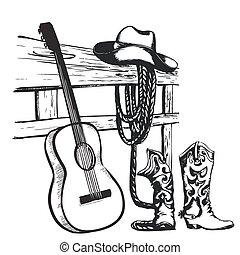 kovboj, vinobraní, kytara, hudba, plakát, šaty
