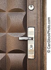 kovový, dveře, grafické pozadí