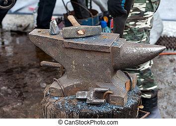 kowal, narzędzia, outdoors, stary, kowadło