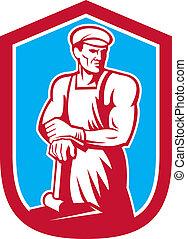 kowal, sledgehammer, pracownik, retro