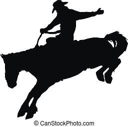 kowboj, jeżdżenie, koń, na, rodeo.