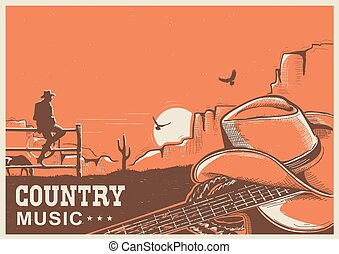 kowboj, kraj, gitara, amerykanka, muzyka, afisz, kapelusz, krajobraz