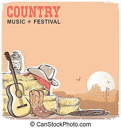 kowboj, kraj, gitara, wyposażenie, amerykanka, muzyka, tło