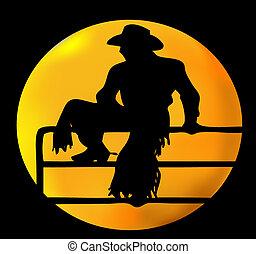 kowboj, księżyc
