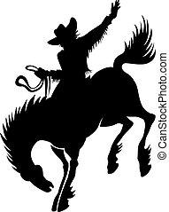 kowboj, na, rodeo, sylwetka