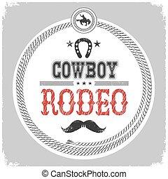 kowboj, odizolowany, etykieta, rodeo, decotarion, white.
