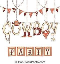 kowboj, text., odizolowany, symbolika, projektować, western, partia, biały