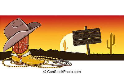 kowboj, wizerunek, zachodnia pustynia, krajobraz, odzież