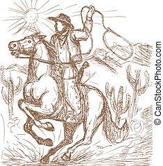 kowboj, z, lasso, jeżdżenie, niejaki, koń, z, kaktus, i, góry, w, przedimek określony przed rzeczownikami, tło.