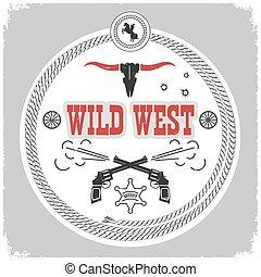 kowboj, zachód, odizolowany, etykieta, decotarion, white., dziki