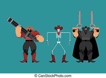 kowboj, zachód, set., armata, bandits., banda, gunfighter., kowboje, dziki, człowiek, western