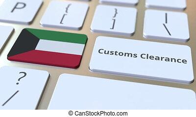 koweït, informatique, conceptuel, animation, texte, ou, dégagement, exportation, importation, apparenté, keyboard., douane, drapeau, 3d