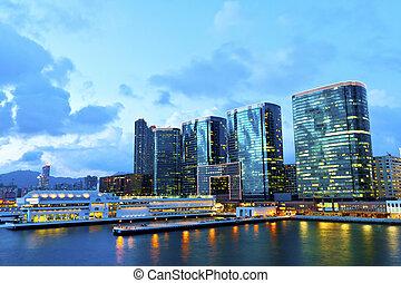 kowloon, an, sonnenuntergang
