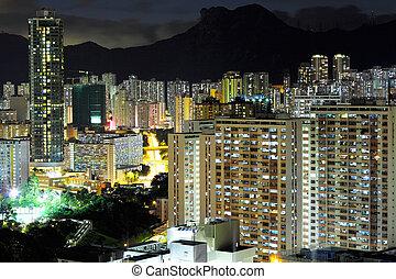 Kowloon at night, downtown in Hong Kong