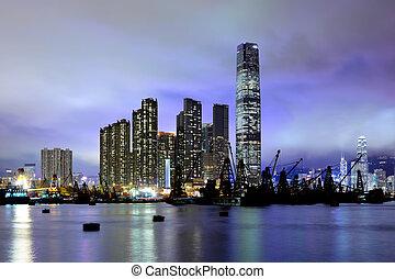 Kowloon at night in Hong Kong