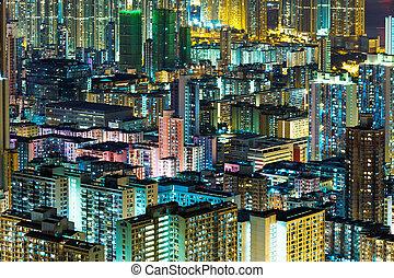 Kowloon downtown in Hong Kong at night
