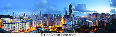 Kowloon downtown night view in Hong Kong