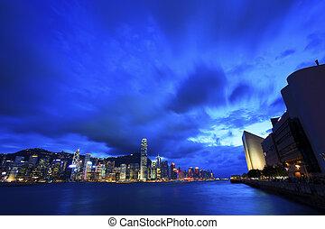Kowloon harbor in Hong Kong at night