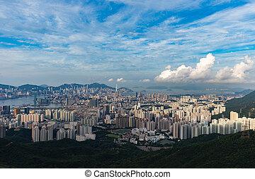 (kowloon, hong, 2015:, agosto, 01, ngo, -, kong, cityscape,...