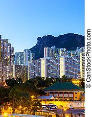 kowloon, lato, in, hong kong, notte, con, leone, roccia