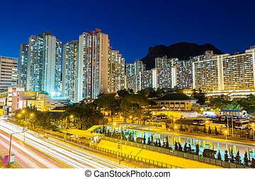 Kowloon residential district in Hong Kong at night