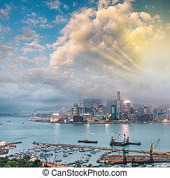 Kowloon skyline at night, Hong Kong