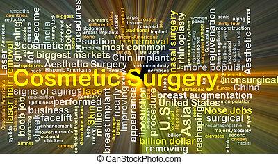kozmetikai operáció, háttér, fogalom, izzó