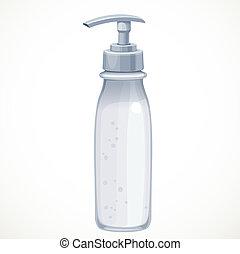 kozmetikai, palack, háttér, elszigetelt, krém, fehér