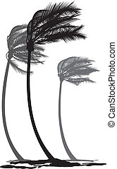 vector black and white illustration of tree palms in the wind