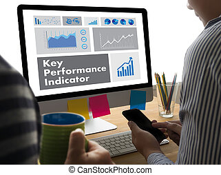 KPI acronym (Key Performance Indicator) Plan businessman...