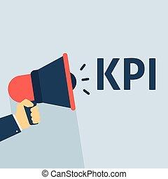 KPI Announcement. Hand Holding Megaphone With Speech Bubble