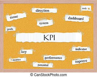 kpi, conceito, corkboard, palavra